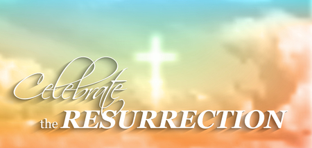 easter christian motive, with text Celebrate the resurrection, white cross and clouds, vector illustration, eps 10 with transparency and gradient mesh
