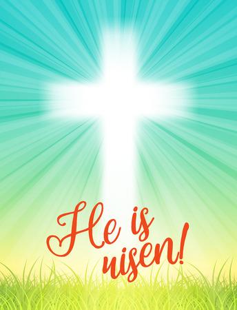 abstracte wit kruis met stralen en tekst Hij is toegenomen, christelijke pasen motief, vector illustratie met transparantie en verloopnet