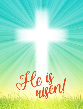 abstract white cross with rays and text He is risen, christian easter motive, vector illustration with transparency and gradient mesh