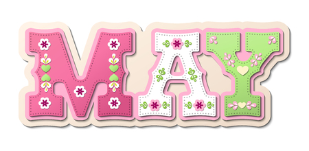 May, illustrated name of calendar month on white background, vector illustration with transparency Vettoriali
