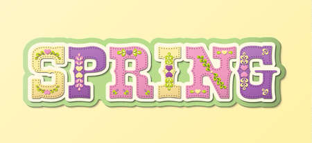illustrated: Spring, illustrated text, name of season of the year on yellow background