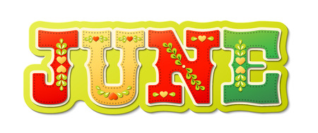 July, illustrated name of calendar month on white background