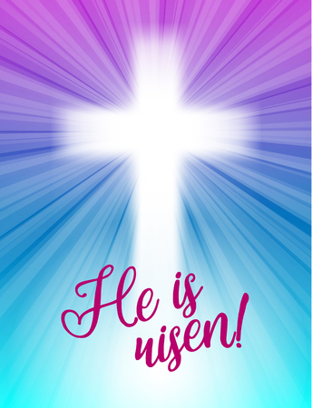risen: abstract white cross with rays and text He is risen, christian easter motive