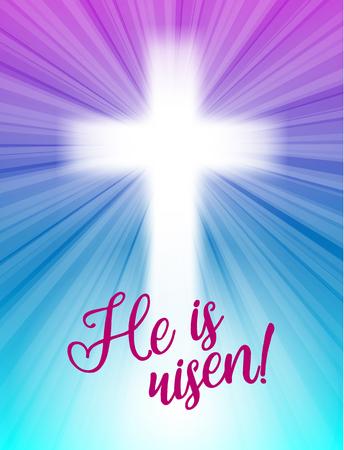abstracte wit kruis met stralen en tekst Hij is toegenomen, christelijke pasen motief