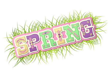 illustrated: Spring, illustrated text on fresh grass, name of season of the year on white background Illustration