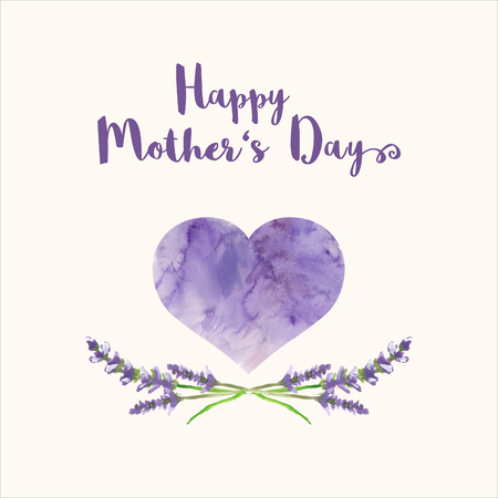 Greeting card with text Happy Mothers Day, heart with violet watercolor texture and hand painted branches of lavender, bitmap illustration
