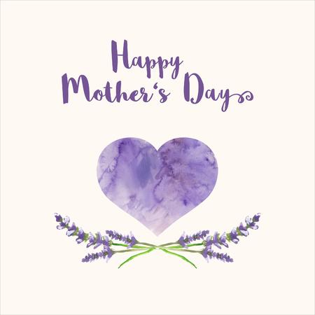 Wenskaart met tekst Happy Mother's Day, hart met violet aquarel textuur en met de hand beschilderd takken van lavendel, bitmap illustratie Stockfoto