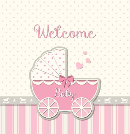 pink vintage: pink vintage stroller on abstract background in srapbooking style, baby shower, vector illustration Illustration