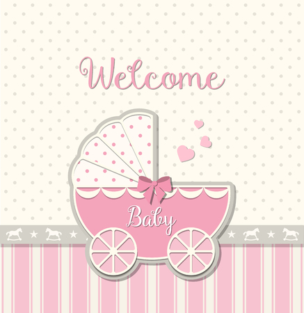 rosa Vintage-Kinderwagen auf abstrakten Hintergrund in srapbooking Stil, Baby-Dusche, Vektor-Illustration