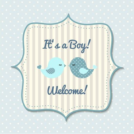 baby blue: Baby shower with cute blue  birds, for boys, in scrapbooking style
