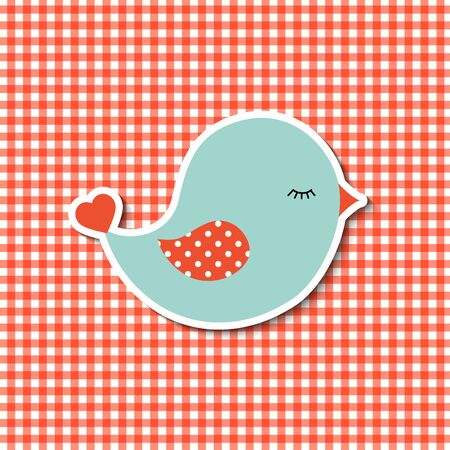 country style: abstract cute blue bird on red canvas background in country style
