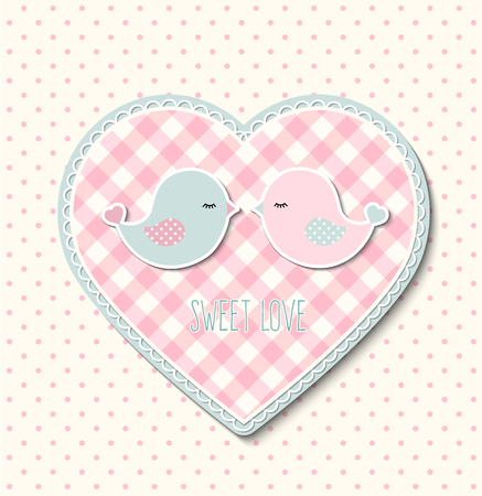 motive: Pink heart with canvas texture and two cute birds, farmhouse motive