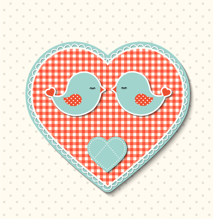 Red abstract heart with canvas texture and two cute birds, farmhouse motive