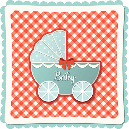 old barn: Vintage blue baby stroller on abstract red canvas background