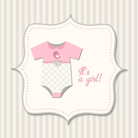 bodysuit: Its a girl, baby shower, card with pink baby bodysuit