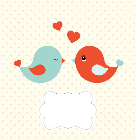 by cu: Abstract template with two cu colorfulte birds and blank frame for your own text Illustration