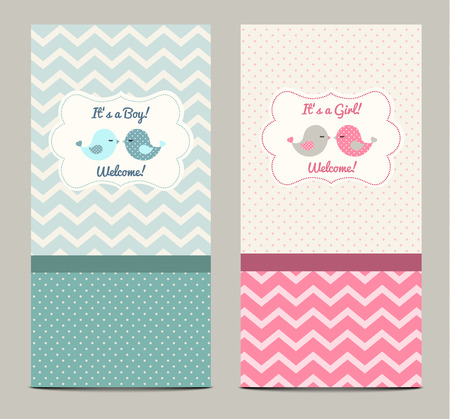 two child: Two baby showers with cute birds Illustration