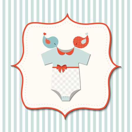 bodysuit: Baby shower with cute baby bodysuit and birds