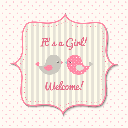 cute baby girls: Baby shower for girls with two cute pink and gray birds