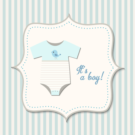 Its a boy, baby shower, card with blue baby bodysuit Ilustracja