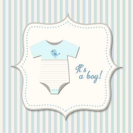 Es un muchacho, ducha bebé, ropa para bebés de tarjeta con azul