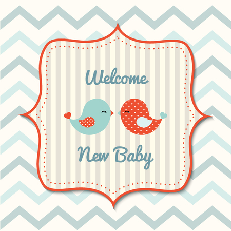 vintage baby: Colorful baby shower with cute cartoon birds