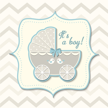 chevron background: gray and bkue vintage stroller on abstract chevron background in srapbooking style, baby shower Stock Photo