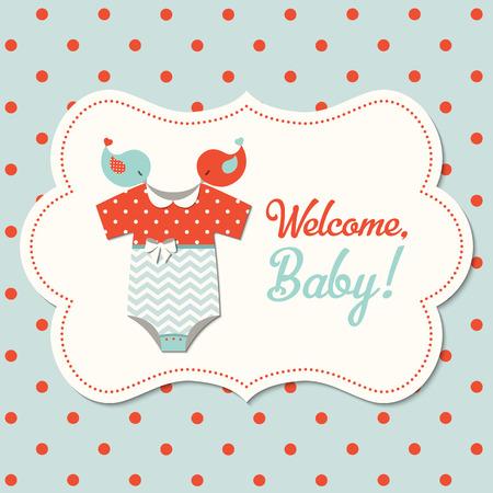 Retro Baby-Dusche, Karte mit roten und blauen Baby-Body auf gepunkteten Hintergrund