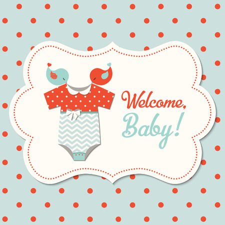Retro baby shower, kaart met rode en blauwe baby kleding op gestippelde achtergrond