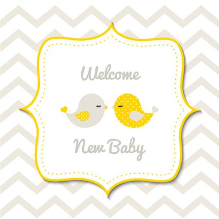 2 마리의 귀여운 노란 새와 가진 베비 샤워 일러스트