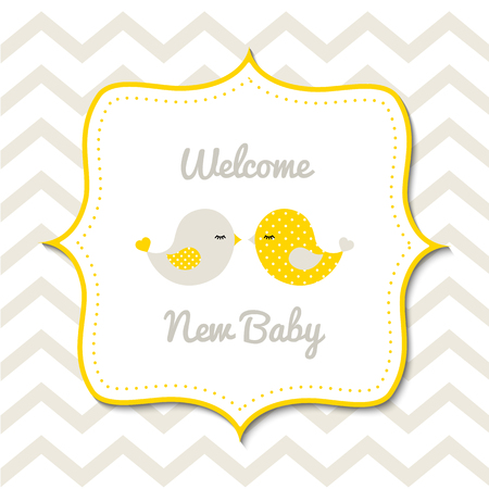 Baby shower with two cute yellow birds Reklamní fotografie - 56699612