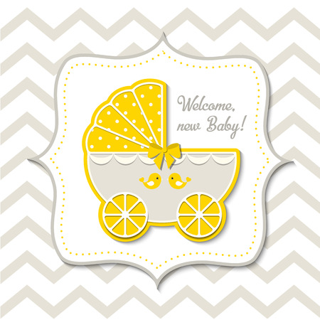 yellow vintage stroller on abstract chevron background in srapbooking style, baby shower