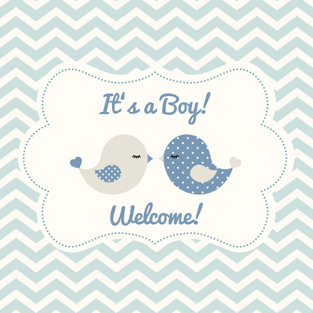 Boy baby shower with two cute blue birds on abstract chevron background