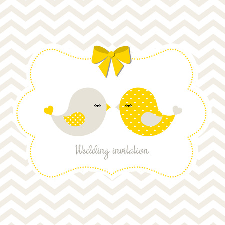 cute background: Yellow wedding invitation with two cute birds on abstract chevron background