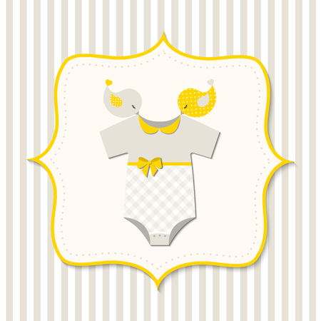 bodysuit: Yellow baby shower, card with baby bodysuit