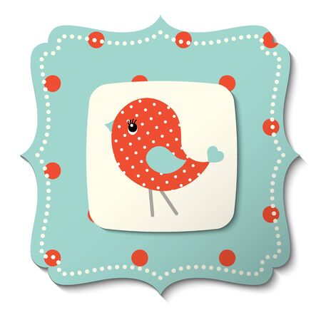 country style: Illustration of abstract cute red bird on blue background in country style
