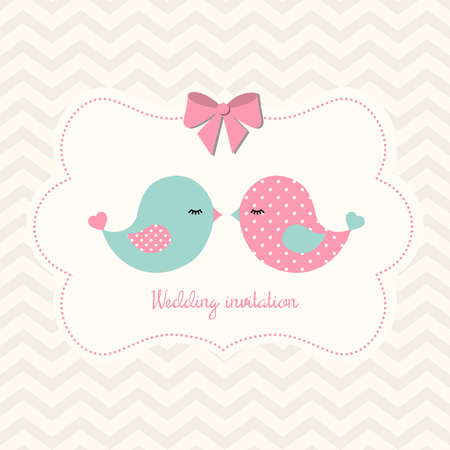 pastel backgrounds: Yellow wedding invitation with pink and blue cute birds on abstract chevron background