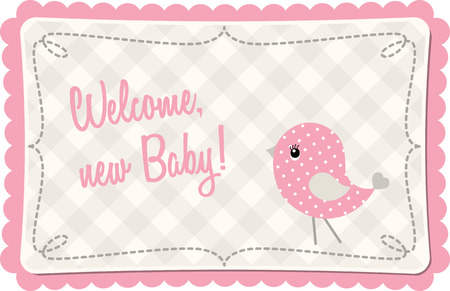 birdie: Baby shower with pink abstract birdie Illustration