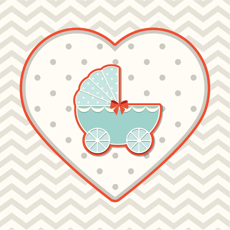 baby blue: Abstract motive with stroller on heart shape on chevron background