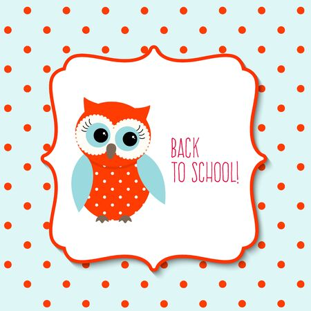 white frame: Cute red owl with text Back to school on blue dotted background