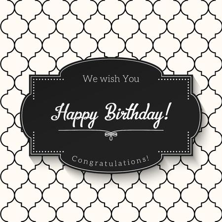 Elegante zwart-witte vintage wenskaart met tekst Gelukkige verjaardag