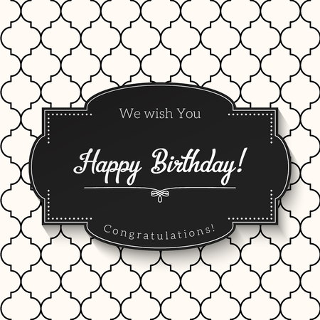 Elegant black and white vintage greeting card with text Happy Birthday