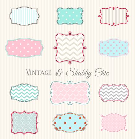 and turquoise: Collection of vintage and shabby chic frames Illustration