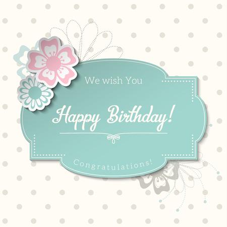 tarjeta de felicitación de la vendimia en estilo elegante lamentable con el texto feliz cumpleaños, etiqueta azul en el fondo de puntos abstracta
