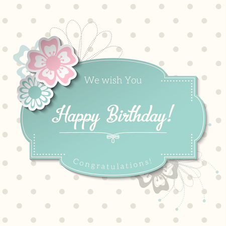 Vintage greeting card in shabby chic style with text Happy Birthday, blue sticker on abstract dotted background