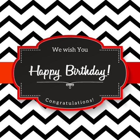chevron patterns: Elrgant vntage greeting card with text Happy Birthday, black sticker with red border on abstract chevron background