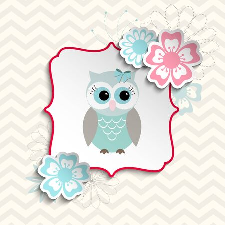 cartoon flower: Blue and gray cute owl sitting in abstract shabby chic frame with flowers, on chevron beige background