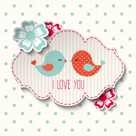 Two cute birds with flowers and text I love you, illustration in scrapbooking style Illustration