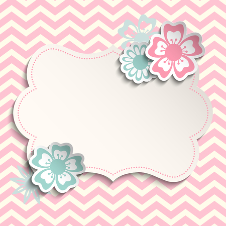 Romantic, shabby chic template with flowers on pink chevron background, can be used as valentine or wedding motive