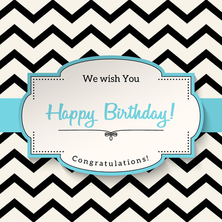 chevron background: Elrgant vntage greeting card with text Happy Birthday, white sticker with blue border on abstract chevron background